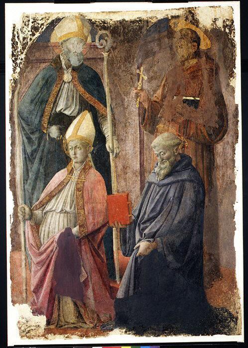 Saints Augustin and Francis, a Bishop Saint, and Saint Benedict - Filippo Lippi