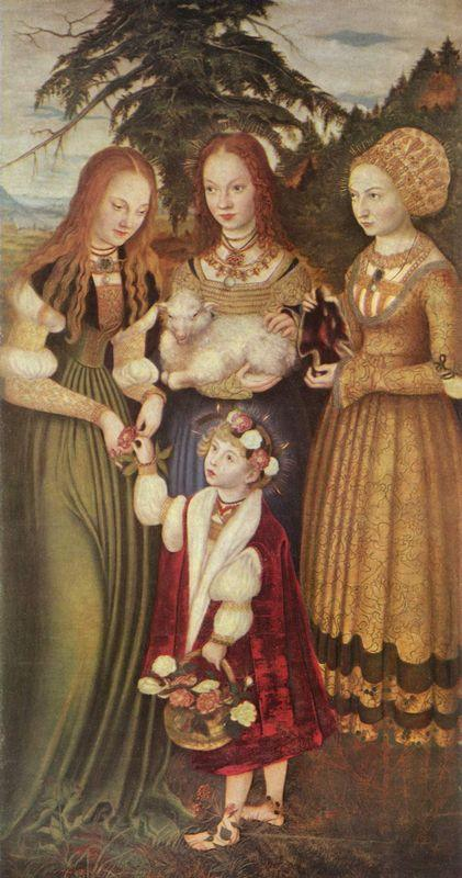Saints Dorothea, Agnes and Kunigunde  - Lucas Cranach the Elder