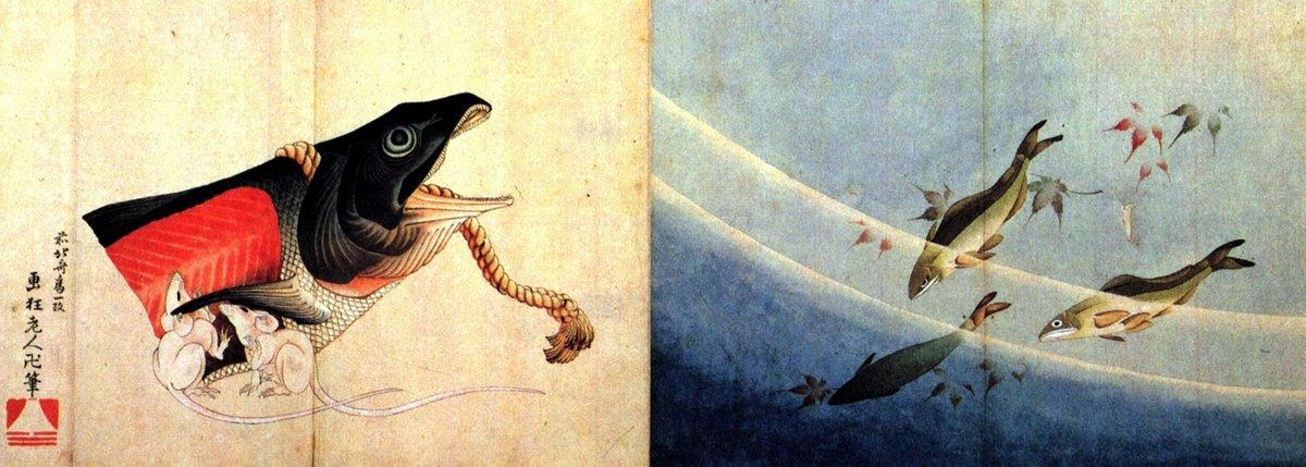 Salted salmond and mice - Katsushika Hokusai