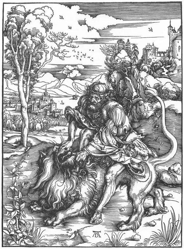 Samson slaying the lion - Albrecht Durer