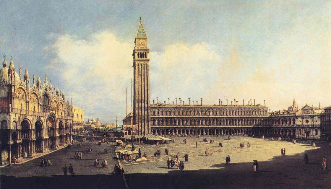 San Marco Square from the Clock Tower Facing the Procuratie Nuove - Bernardo Bellotto