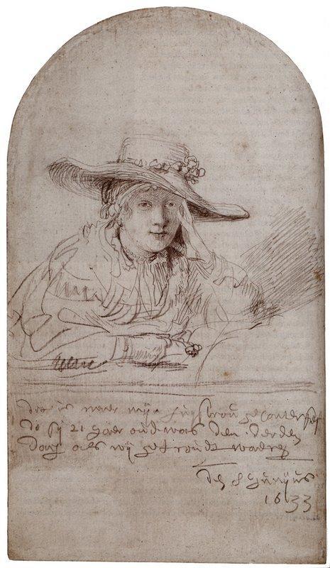 Saskia In A Straw Hat - Rembrandt