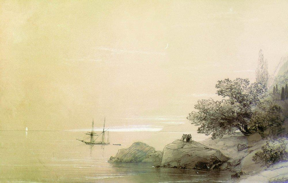 Sea against a rocky shore - Ivan Aivazovsky