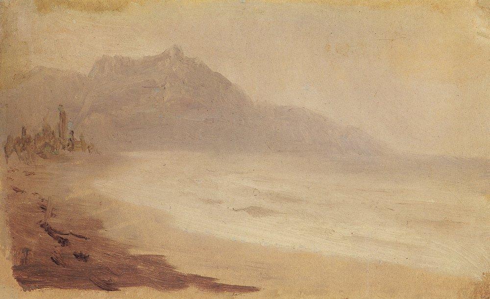 Sea coast. View of Mount Demerdzhi - Arkhip Kuindzhi