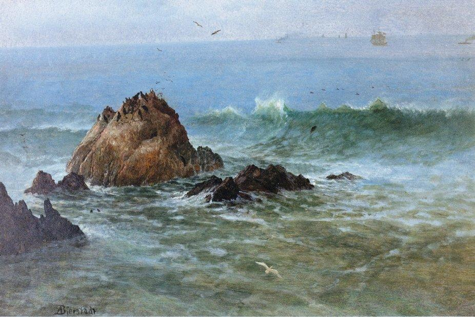 Seal Rocks on Pacific Coast, California - Albert Bierstadt