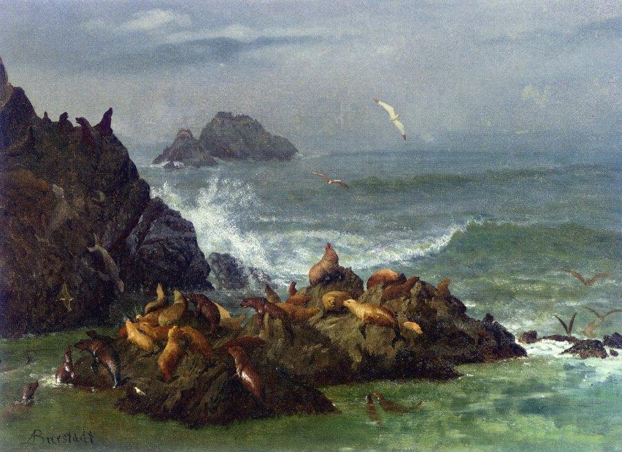 Seal Rocks, Pacific Ocean, California - Albert Bierstadt