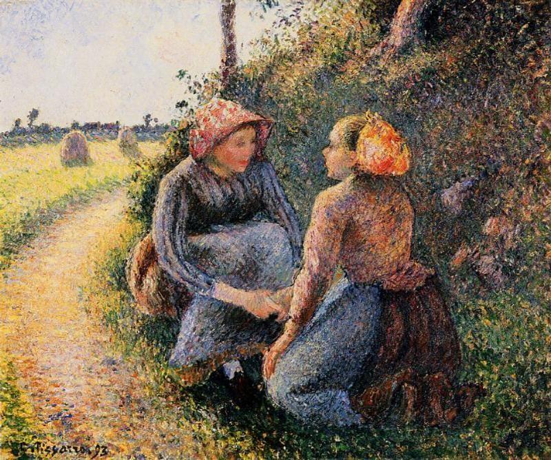 Seated and Kneeling Peasants - Camille Pissarro