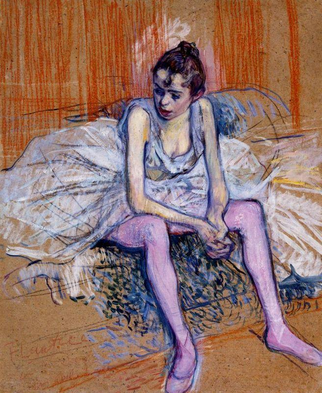 Seated Dancer in Pink Tights - Henri de Toulouse-Lautrec