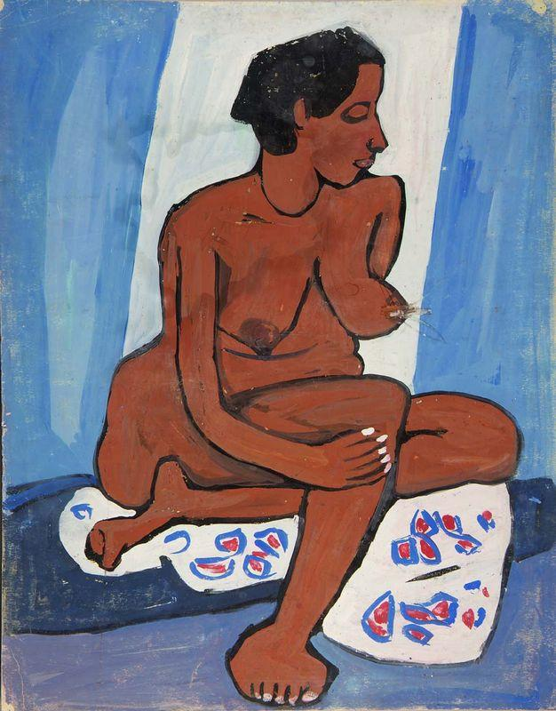 Seated Female Nude with Flowered Drape - William H. Johnson