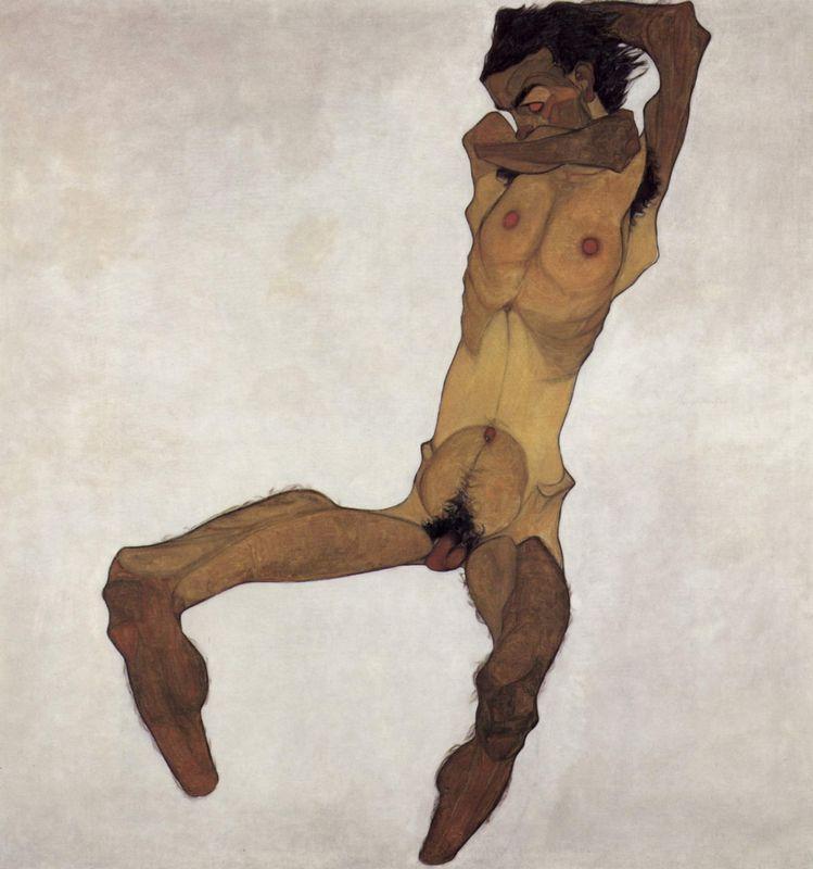 Seated male Nude - Egon Schiele