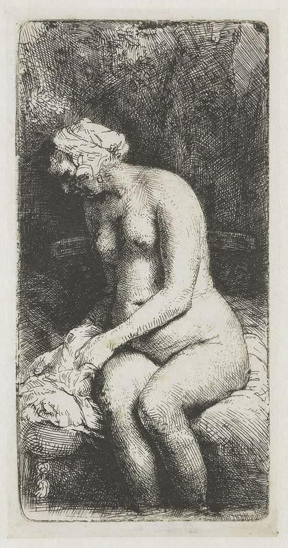 Seated naked woman (Woman bathing her feet at a brook) - Rembrandt