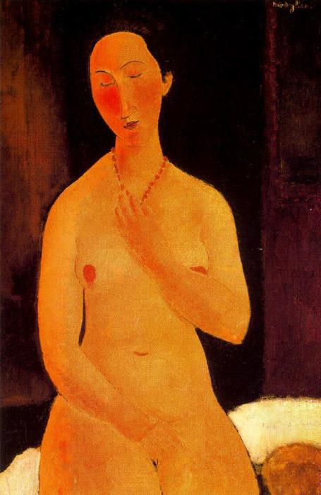 Seated nude with Necklace - Amedeo Modigliani