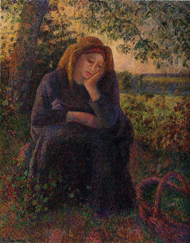 Seated Peasant - Camille Pissarro