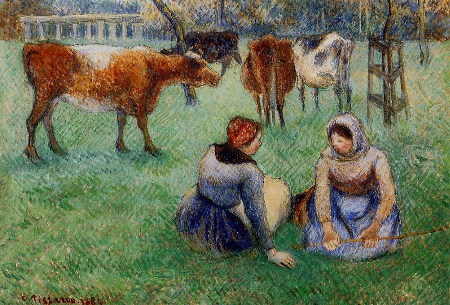 Seated Peasants Watching Cows - Camille Pissarro