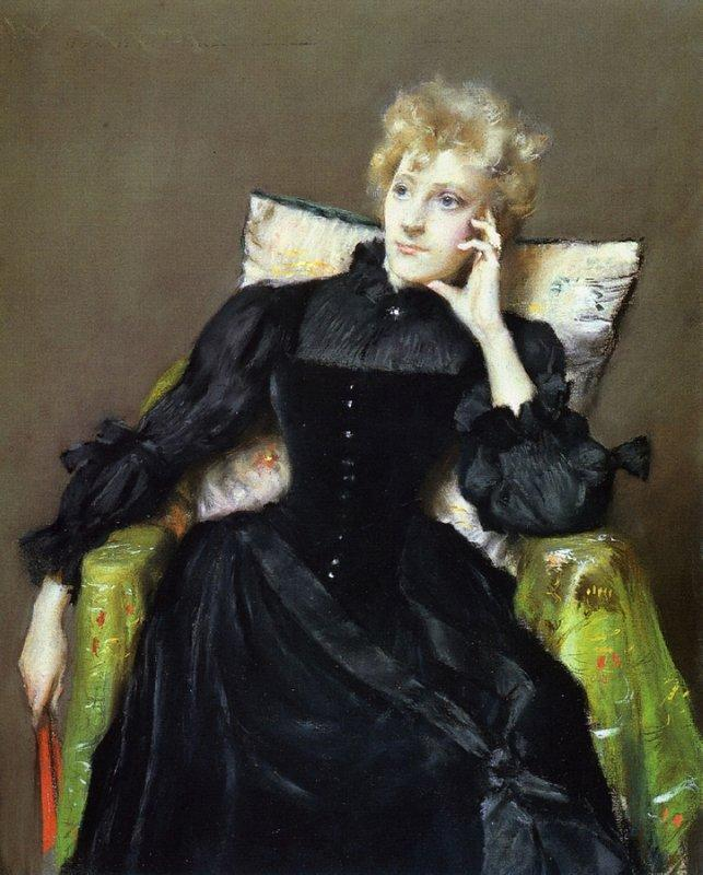 Seated Woman in Black Dress - William Merritt Chase