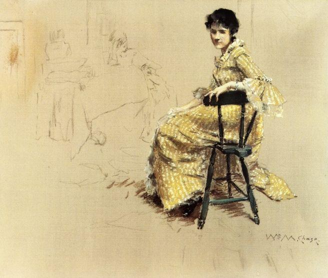 Seated Woman in Yello Striped Gown - William Merritt Chase
