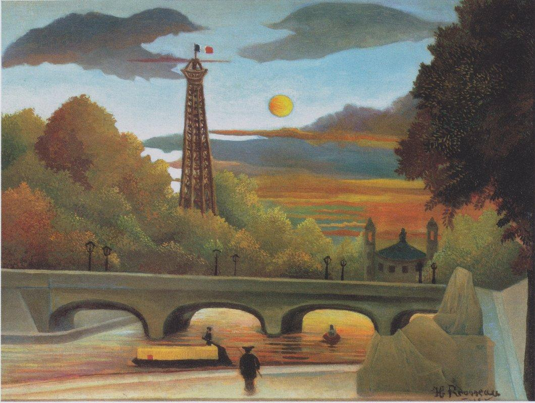 Seine and Eiffel tower in the sunset - Henri Rousseau