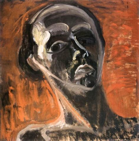 Self-portrait against a Red Background - Istvan Ilosvai Varga