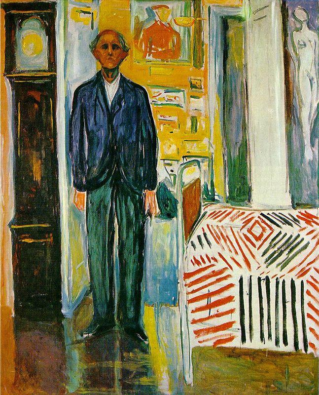 Self-portrait. Between the clock and the bed - Edvard Munch