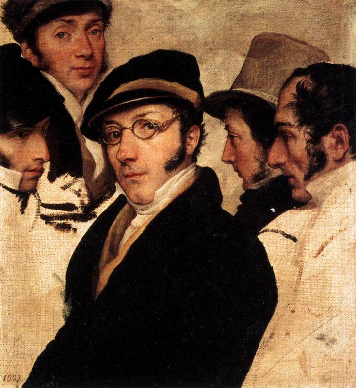 Self Portrait in a Group of Friends - Francesco Hayez
