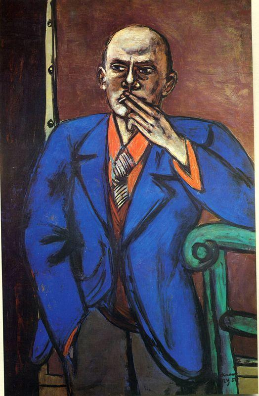 Self-Portrait in Blue Jacket - Max Beckmann