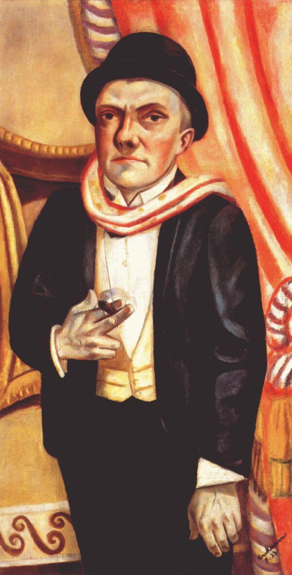 Self-portrait in front of red curtain - Max Beckmann