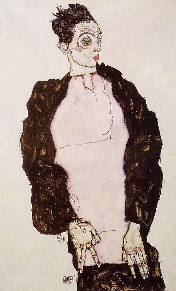 Self Portrait in Lavender and Dark Suit, Standing - Egon Schiele