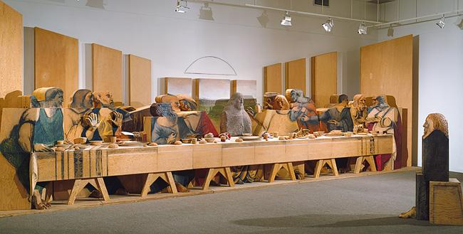 Self-Portrait Looking at The Last Supper - Marisol Escobar