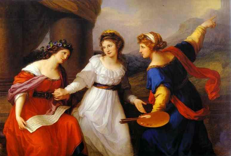 Self Portrait, the Artist Hesitating Between the Arts of Music and Painting  - Angelica Kauffman