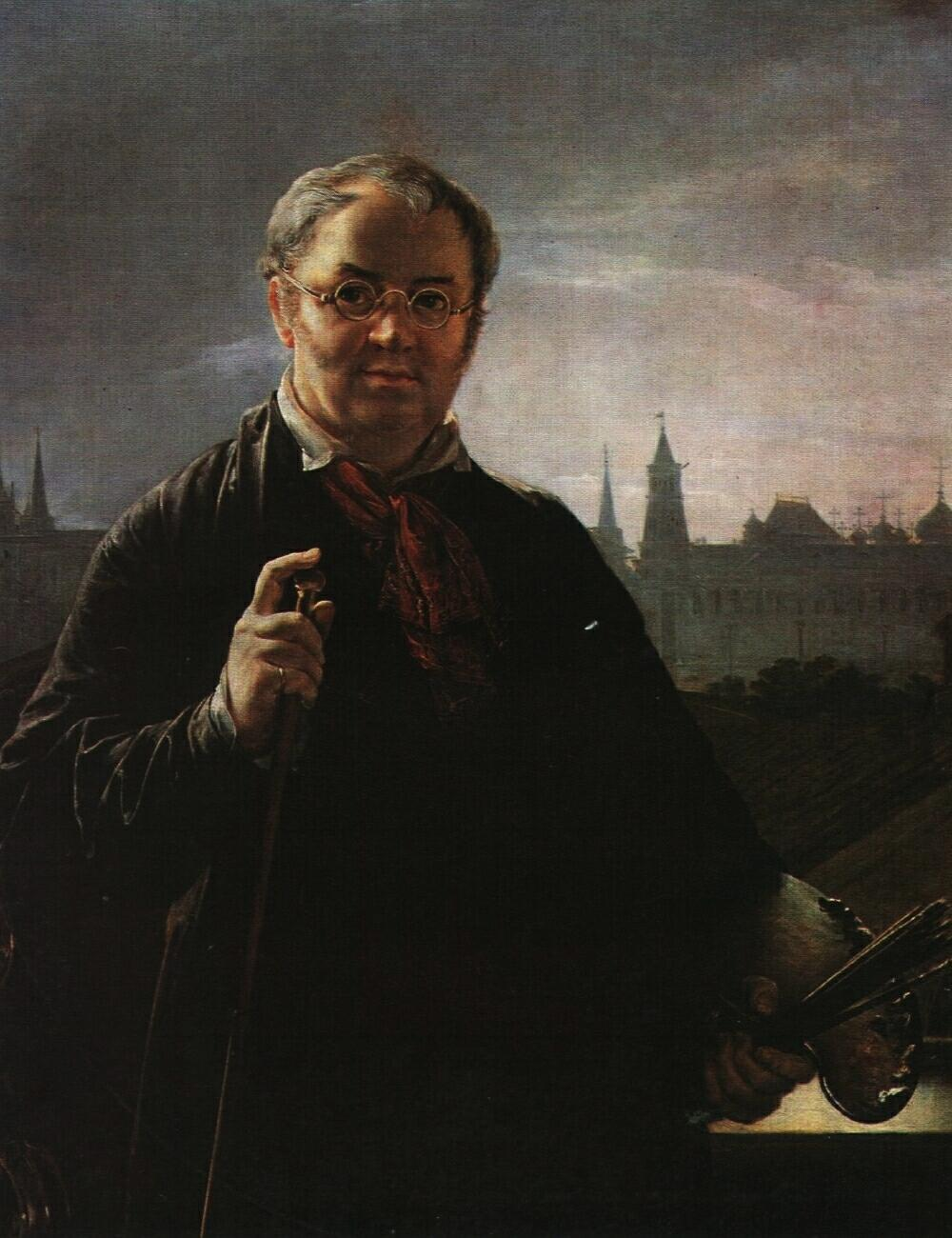 Self-Portrait with Brushes and a Palette Against a Window Facing the Kremlin - Vasily Tropinin