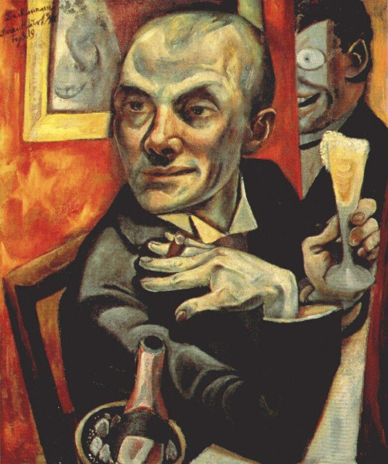 Self-portrait with champagne glass - Max Beckmann