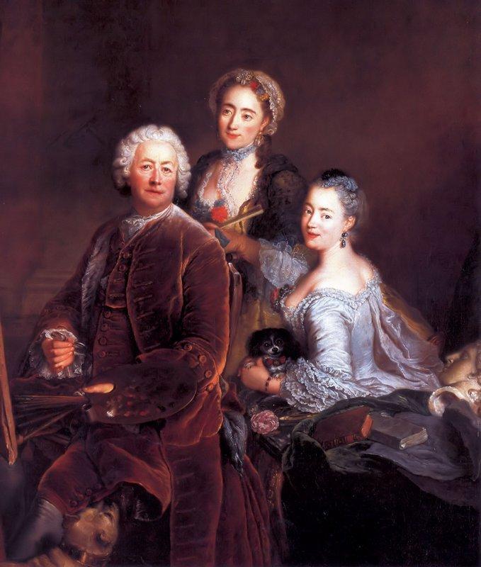 Self-portrait with Daughters - Antoine Pesne