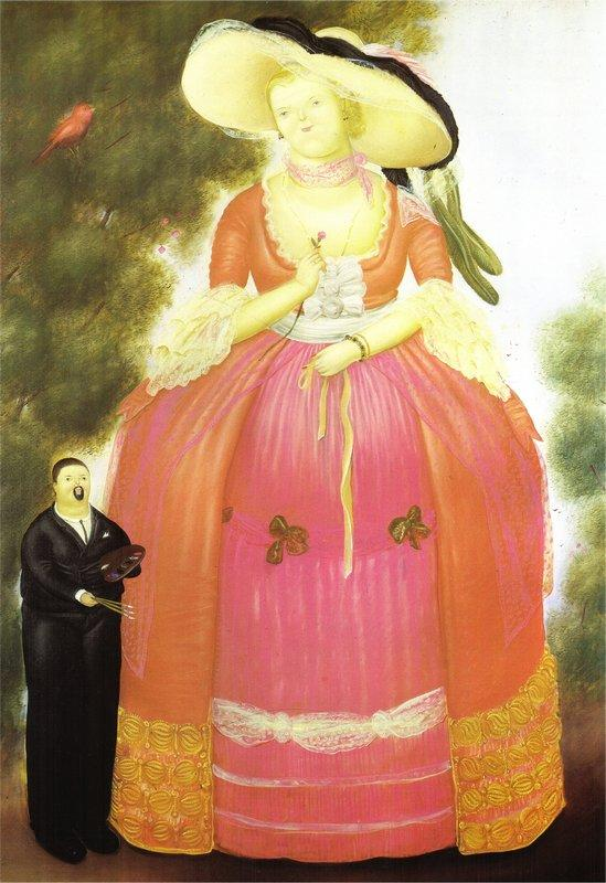 Self-Portrait with Madame Pompadour - Fernando Botero