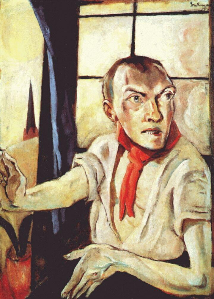 Self-portrait with red scarf - Max Beckmann