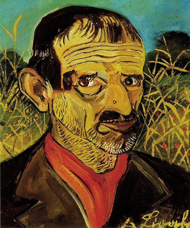 Self-Portrait with red scarf - Antonio Ligabue