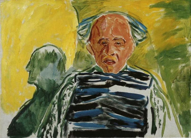 Self-Portrait with Striped Pullover - Edvard Munch
