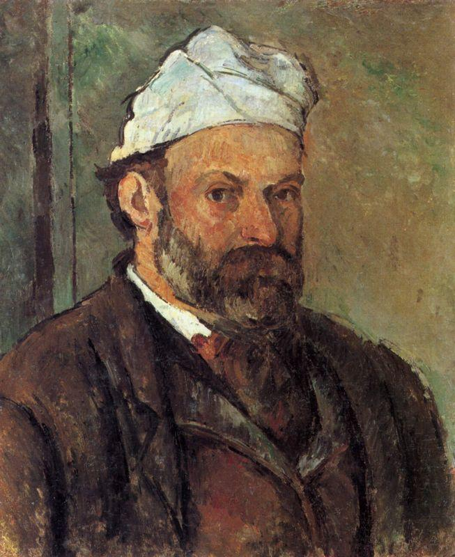 Self-portrait with white turbaned - Paul Cezanne