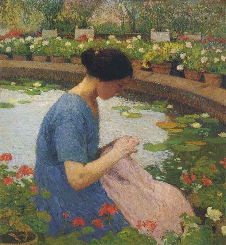 Sewing in the Garden at Marquayrol - Henri Martin