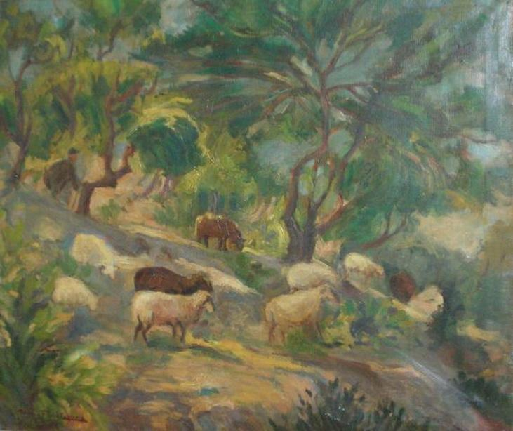 Sheep on a slope -  Thalia Flora-Karavia