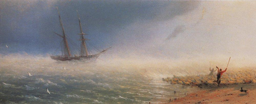 Sheep which forced by storm to the sea - Ivan Aivazovsky