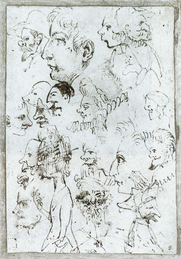 Sheet of caricatures - Annibale Carracci