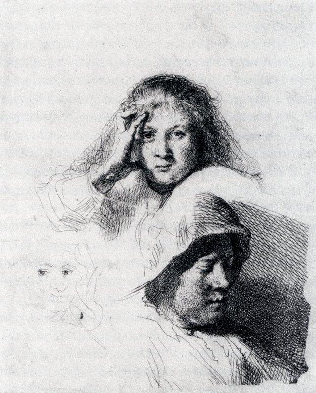 Sheet Of Sketches With A Portrait Of Saskia - Rembrandt