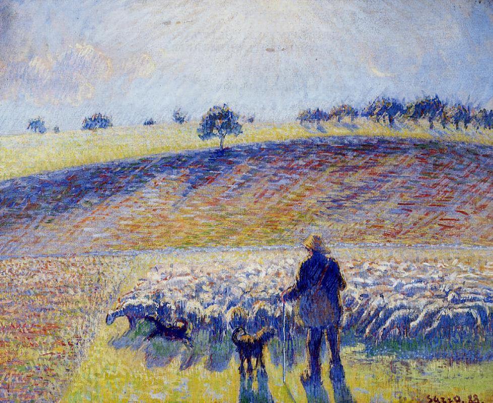 Shepherd and Sheep - Camille Pissarro