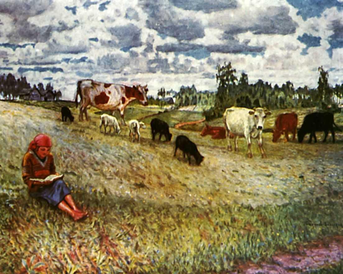Shepherd Girl - Nikolay Bogdanov-Belsky