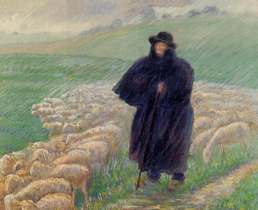 Shepherd in a Downpour - Camille Pissarro