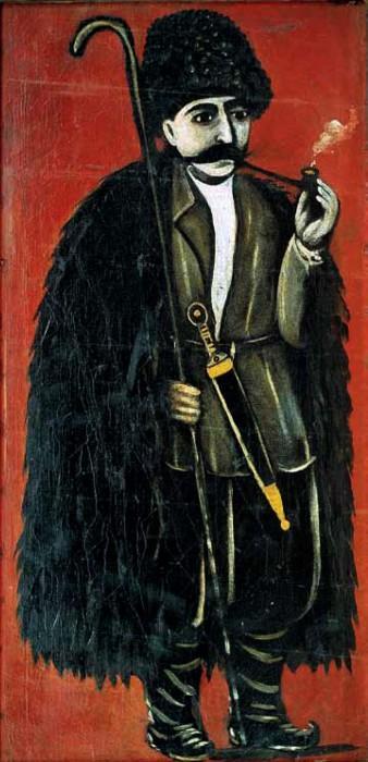 Shepherd in a felt cloak on a red background - Niko Pirosmani