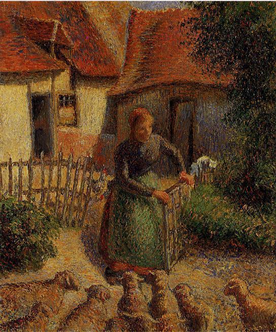 Shepherdess Bringing in Sheep - Camille Pissarro