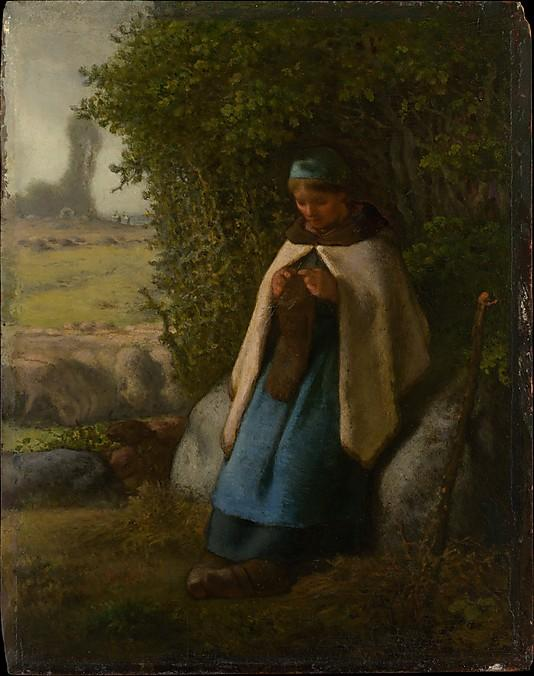 Shepherdess Seated on a Rock - Jean-Francois Millet