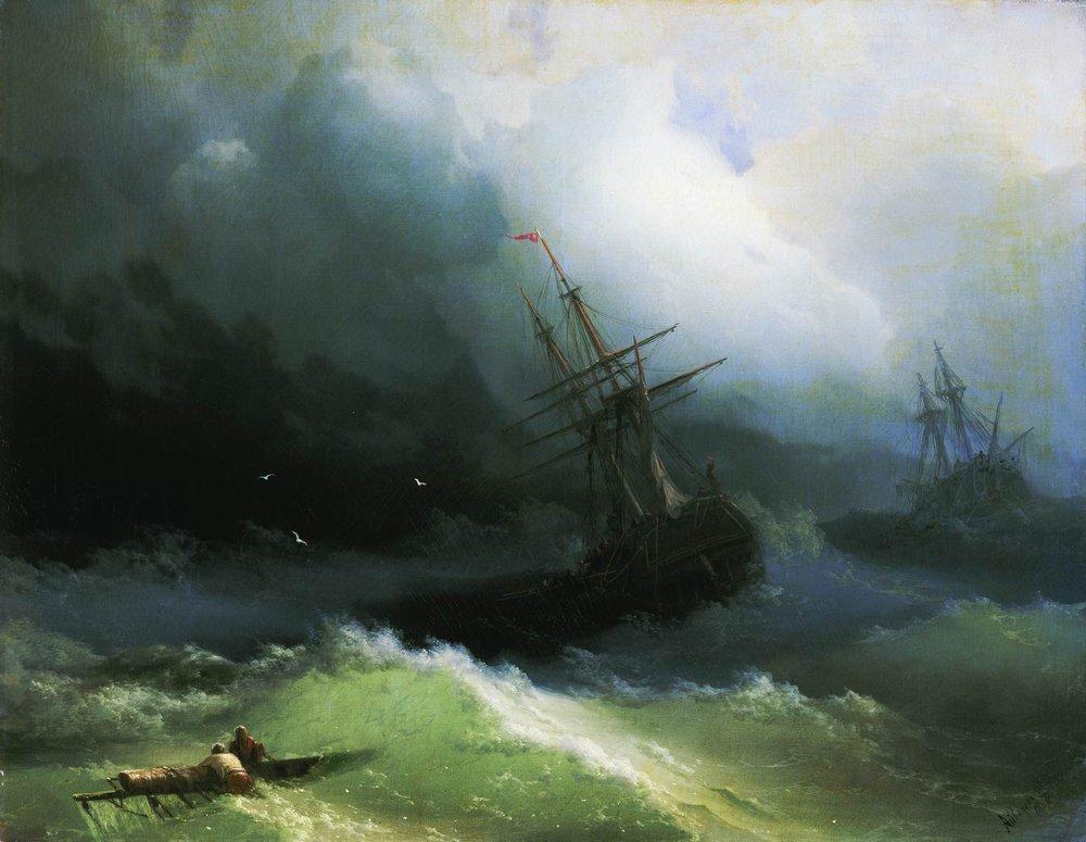 Ships in the stormy sea - Ivan Aivazovsky