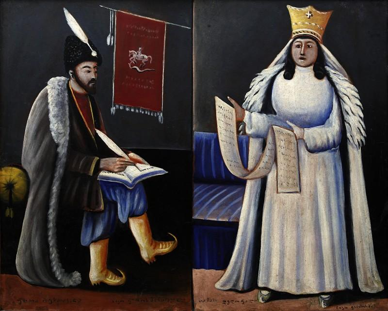 Shota Rustaveli and Queen Tamar - Niko Pirosmani